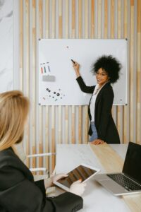 woman gives a successful presentation